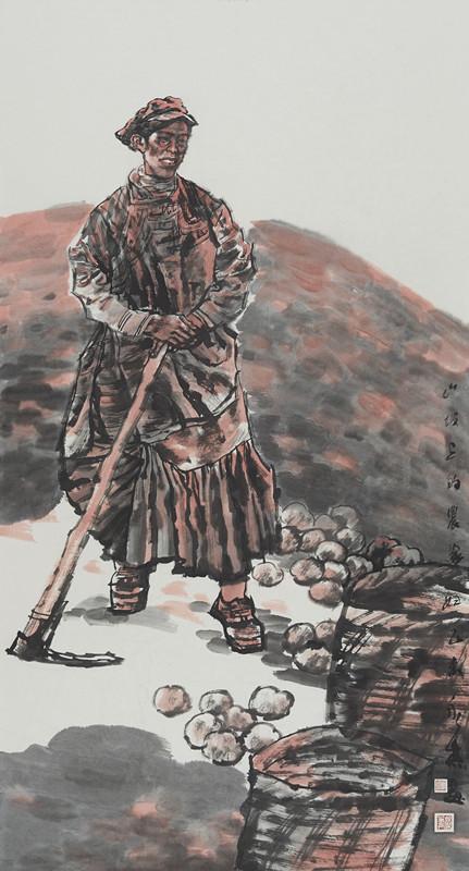 山坡上的农家妇女